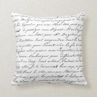 Paris French Script Chic Handwriting Pillow