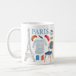 Paris French Watercolor Doodles Mug