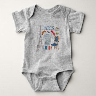 Paris French Watercolor Doodles Onsie Baby Bodysuit