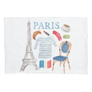 Paris French Watercolor Doodles Pillowcase