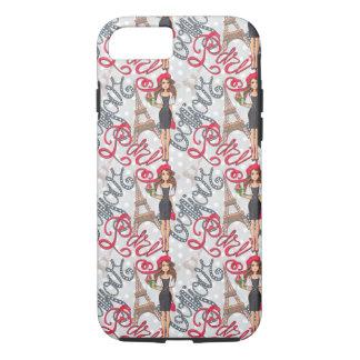 Paris Girl Bonjour Illustration iPhone 8/7 Case