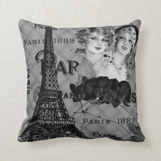 Paris Girls Throw Pillow