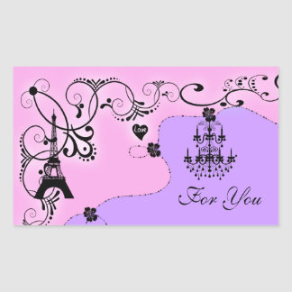 Paris girly chandelier monogram rectangular sticker
