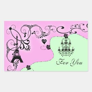 Paris girly chandelier monogram rectangle sticker