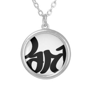 paris graffiti tag silver plated necklace