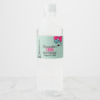Paris Happy Birthday Water Bottle Label