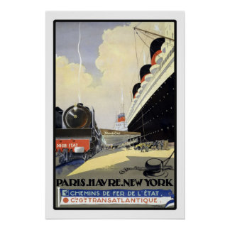 Paris Havre New York By Train Ship Vintage Travel Poster