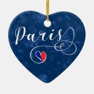 Paris Heart, Christmas Tree Ornament, France Ceramic Ornament