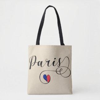 Paris Heart Grocery Bag, France Tote Bag