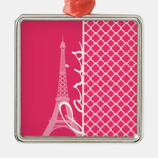Paris; Hot Pink Moroccan Quatrefoil Christmas Tree Ornaments