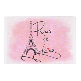 Paris I Love You Pink PXLY Laminated Placemat