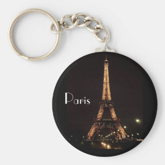 Paris Illuminations - Eiffel Tower Basic Round Button Key Ring
