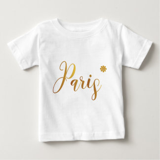 Paris-in-Gold-with-Flower Baby T-Shirt