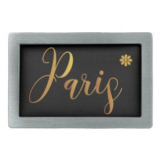 Paris-in-Gold-with-Flower Rectangular Belt Buckle