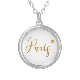 Paris-in-Gold-with-Flower Silver Plated Necklace
