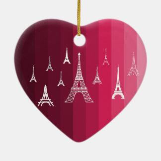 Paris in Pink Ceramic Heart Decoration