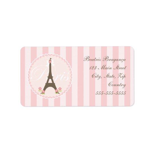 Paris in Spring Girly Address Label