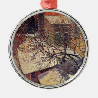 Paris in the snow by Paul Gauguin Silver-Colored Round Decoration