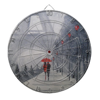 Paris in the snow dartboard