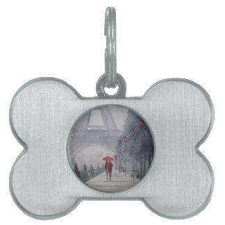 Paris in the snow pet tag