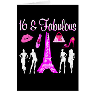 PARIS INSPIRED SWEET 16TH BIRTHDAY DESIGN CARD