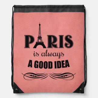 Paris is always a good idea drawstring bag
