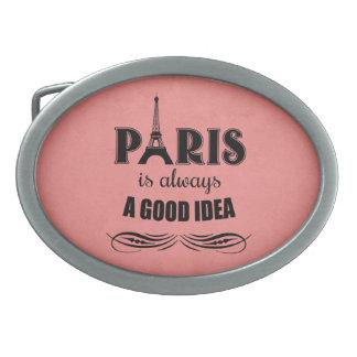 Paris is always a good idea oval belt buckle
