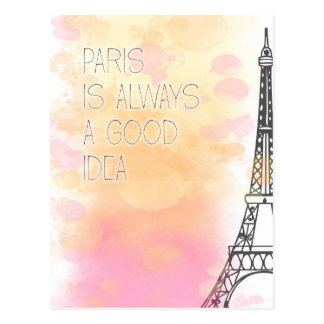PARIS IS always good idea, watercolor Postcard