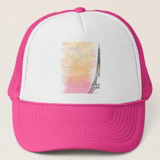 PARIS IS always good idea, watercolor Trucker Hat