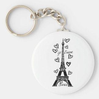 PARIS JE T'AIME EIFFEL TOWER AND HEARTS PRINT BASIC ROUND BUTTON KEY RING