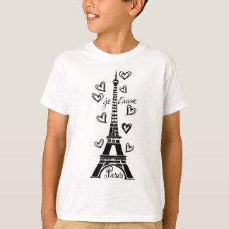 PARIS JE T'AIME EIFFEL TOWER AND HEARTS PRINT SHIRT