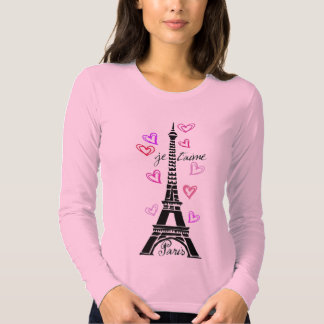 PARIS JE T'AIME EIFFEL TOWER AND HEARTS PRINT T SHIRTS