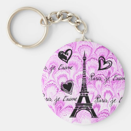 Paris, je t'aime in pink watercolor key chains