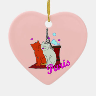 Paris Kitties Ceramic Heart Decoration