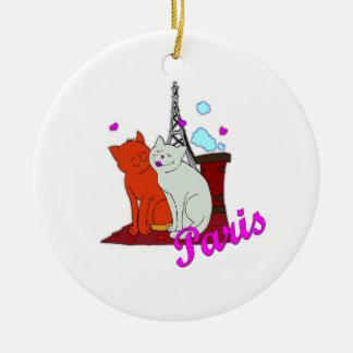 Paris Kitties Round Ceramic Decoration