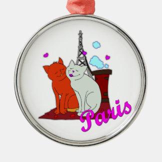 Paris Kitties Silver-Colored Round Decoration