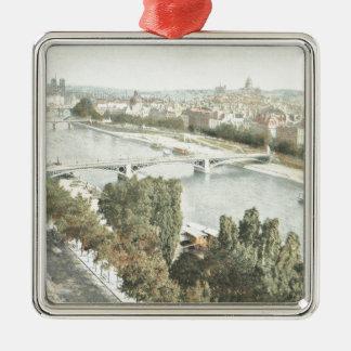 Paris, La Seine Silver-Colored Square Decoration