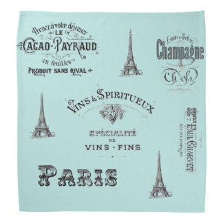 Paris Label Collage Aqua Bandana