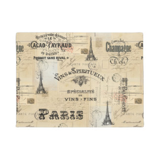 Paris Label Collage French Postcard Doormat