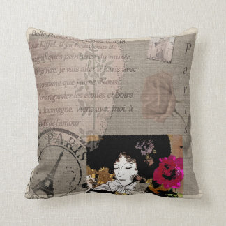Paris Lady with Hat Pink Flower Collage Cushion