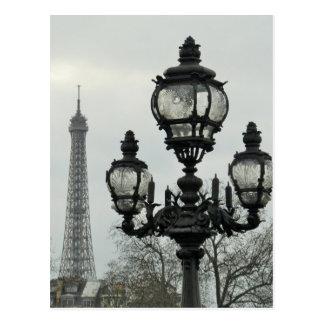 Paris Lamp Post and Eiffel Tower Scene Postcard