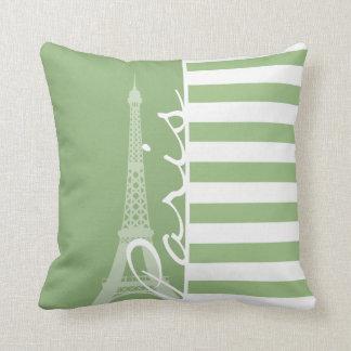 Paris; Laurel Green Horizontal Stripes Cushion