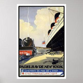 Paris, Le Havre, New York Vintage Travel Poster