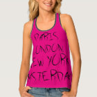 Paris, London, New York, Amsterdam Black Pink Singlet
