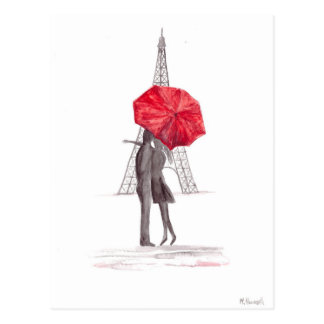 Paris love couple with red umbrella postcard
