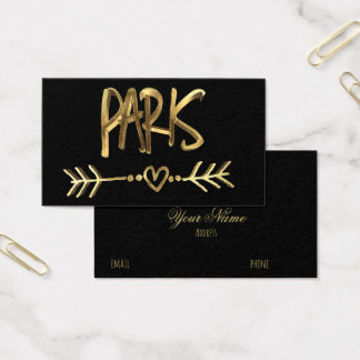 Paris Love France Black Gold Typography Elegant Business Card