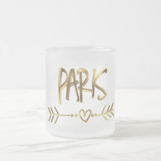 Paris Love France Gold Look Typography Elegant Frosted Glass Coffee Mug