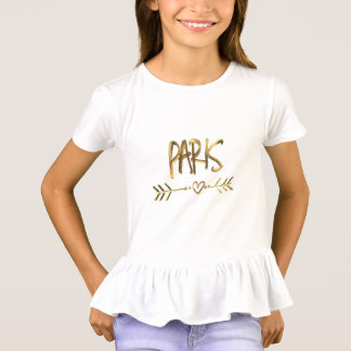 Paris Love France Gold Look Typography Elegant T-Shirt