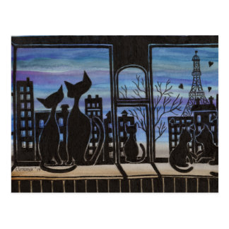 Paris, Love, Romantic Kitty Post Card