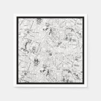 Paris Map Disposable Serviette